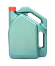 Green plastic gallon with red lid jerry can on white background Royalty Free Stock Photo
