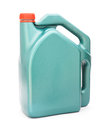 Green plastic gallon with red lid jerry can on white background Stock Photos