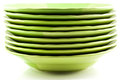 Green plates on white Royalty Free Stock Photography