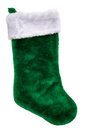 Green plush Christmas stocking Royalty Free Stock Photo