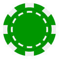 Green Poker Chip Flat Icon Isolated on White