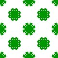 Green Poker Chip Icon Seamless Pattern