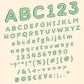 Green polka dots comic font for funny pop art illustration