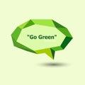 Green polygonal geometric speech bubble