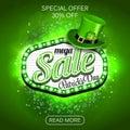 Green Poster, Banner or Flyer design of mega Sale on occasion of St. Patrick`s Day celebration.