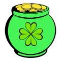 Green pot full of gold icon, icon cartoon
