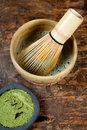 Green powder tea and whisk Royalty Free Stock Images