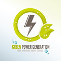 Green power badge for renewable energy sources generation electricity from Royalty Free Stock Images