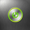 Green power button on front panel of computer Royalty Free Stock Photo