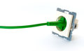 Green power cable plugged into wall outlet without cover Royalty Free Stock Photo