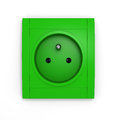 Green power socket illustration of european on white background Royalty Free Stock Photos
