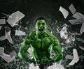 Green powerful muscular man Royalty Free Stock Photo