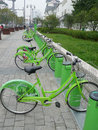 Green Public bicycles in Suzhou Stock Photography