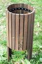 Green public rubbish bin in a park Royalty Free Stock Photo