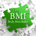 On green puzzle health concept bmi body mass index written pieces Royalty Free Stock Image