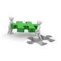 Green puzzle two characters carry a piece to the appropriate gap Royalty Free Stock Images