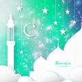 Green Ramadan Kareem Greeting card.. Arabic window Mosque, clouds, white stars. Paper cut style. Arabesque pattern