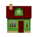 Green realistic house in front view isolated on white Royalty Free Stock Photo