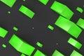 Green rectangular shapes of random size on black background