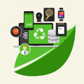 Green recycle computer  technology computing Royalty Free Stock Photo