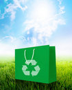 Green recycle paper shopping bag Royalty Free Stock Image