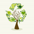 Green recycle symbol concept tree save the earth idea with icons set this illustration is layered for easy manipulation and custom Royalty Free Stock Photography