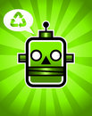 Green Recycling Retro Robot Royalty Free Stock Photo
