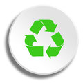 Green recycling in round white button with shadow Royalty Free Stock Photo