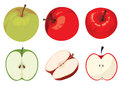 Green and red apple set on white background Royalty Free Stock Image