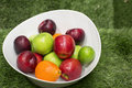 Green and red apples in a big white dish the fruit bowl filled with assorted fresh fruits Stock Photos