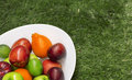 Green and red apples in a big white dish the fruit bowl filled with assorted fresh fruits Stock Photo