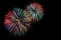 Green red blue white golden fireworks Royalty Free Stock Photo