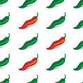 Green and red chili peppers with shadow. Seamless pattern. Isolated on white background. Vector illustration.