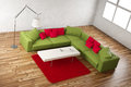 Green and red room angle view with carpet Stock Images