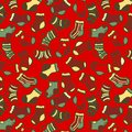 Green on red socks seamless pattern vector hand drawn and color Stock Photography