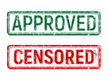 Green and red vintage approved and censored stamp with grunge effect rotated on isolated background. Royalty Free Stock Photo