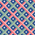 Green and Red Weave on blue dot Seamless pattern background Royalty Free Stock Photo