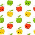 Green, Red, Yellow Cute Apple Seamless Endless Pattern. Red Apple Fruit. Cartoon Style