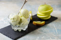 Green refreshing pistachio ice cream in glass bowl Royalty Free Stock Photo