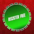Green REGISTER FREE badge on red pattern background. Royalty Free Stock Photo