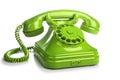 Green retro telephone on white background Royalty Free Stock Photo