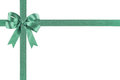 Green ribbon with a bow Royalty Free Stock Photo