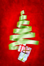 Green ribbon Christmas tree Stock Photography