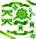 Green ribbon with clover Stock Images