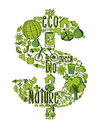Green rich symbol with environmental icons money hand drawn in this illustration is layered for easy manipulation and custom Royalty Free Stock Photography