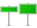 Green roadsign vector illustration of two on white background Royalty Free Stock Photography