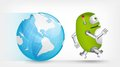 Green robot cartoon character concept illustration vector eps Royalty Free Stock Image