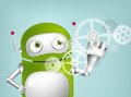 Green robot cartoon character concept illustration vector eps Stock Photography