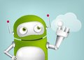 Green robot cartoon character concept illustration vector eps Royalty Free Stock Photography