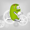 Green robot cartoon character concept illustration vector eps Stock Image